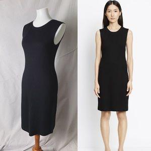 VINCE Plaited Rib Shift Knit Dress Merino Black